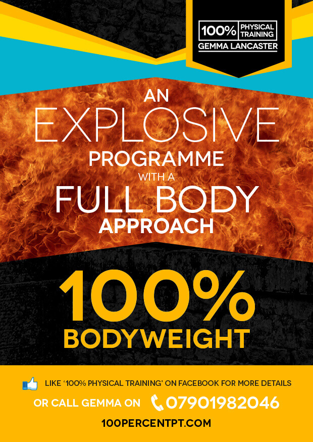 100% Physical Fitness bodyweight and mega bands flyer
